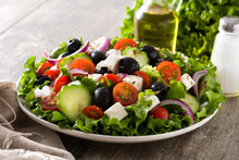 Fresh Greek Salad In Bowl With...