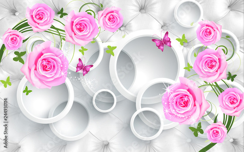Obraz kwiaty   3d-illustration-upholstery-white-background-white-rings-green-and-pink-butterflies-glitter