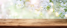 Spring Blossoms With Wooden Table