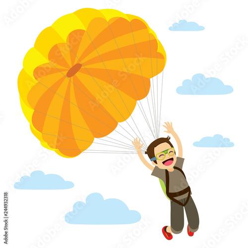 Fotografie, Obraz  Skydiver Man Descending Happy