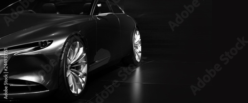 Fotografia  Detail of the front car LED headlights modern car on black background