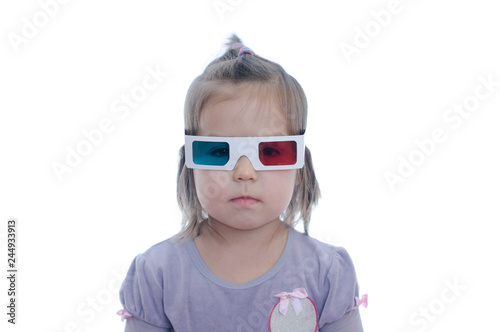 little baby girl in 3D anaglyph cinema glasses for stereo image system with polarization Wallpaper Mural