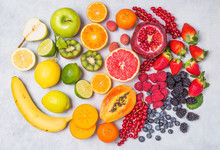 Fruits And Berries Rainbow Top View.Natural Vitamins And Antioxidants Food Concept.
