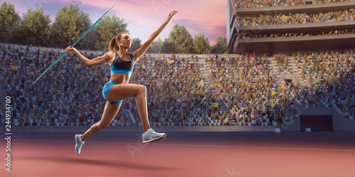 Photo Young black female javelin thrower throwing a spear