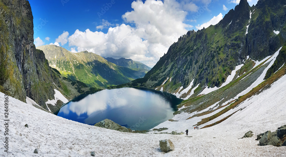 Fototapety, obrazy: Morskie Oko. High Tatras, Poland, May 27, 2018. Beautiful landscape of snowy mountain tops and the lake between them.
