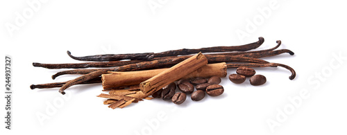 Fototapeta Vanilla, cinnamon and coffee beans on white background. Spices isolated. obraz