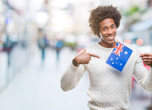 Afro American Man Flag Of Australia Over Isolated Background Very Happy Pointing With Hand And Finger