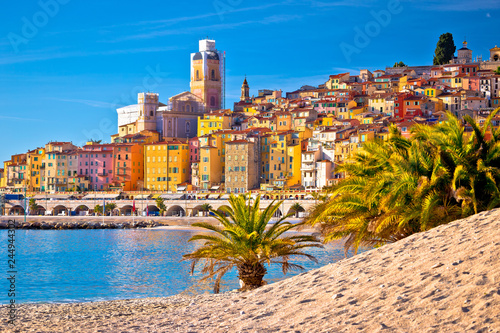 Poster Mediterranean Europe Colorful Cote d Azur town of Menton beach and architecture view
