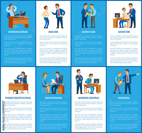 Boss and Work in Business Company Posters Set Wallpaper Mural