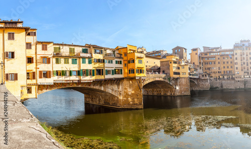 Famous landmark Ponte Vecchio bridge over Arno river in Florence, Italy Wallpaper Mural