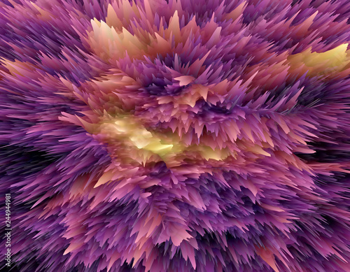 Staande foto Koraalriffen Abstract color 3D rendering object with extruded surface