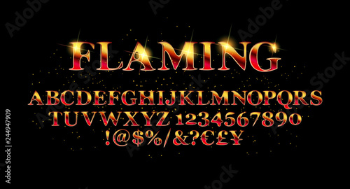 Photographie  Vector of abstract flaming font a