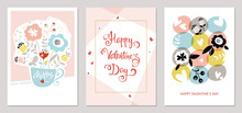 Valentine's Day Cards Design In Contemporary Style. Vector Illustration.