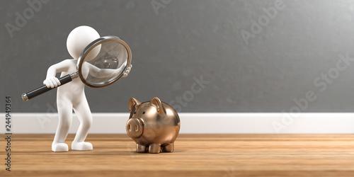 3D Illustration weißes Männchen mit Lupe und Sparschwein