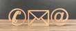 canvas print picture - 3D Illustration Kontakt Symbole aus Holz