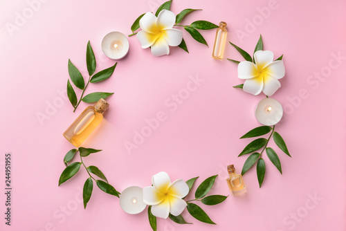 Spoed Foto op Canvas Frangipani Beautiful spa composition with essential oil on color background