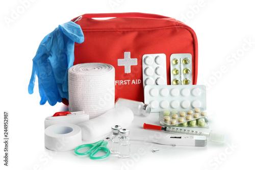 Fotografie, Tablou First aid kit on white background