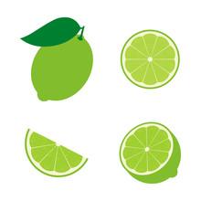 Set Of Lime Fruit : Half , Sli...