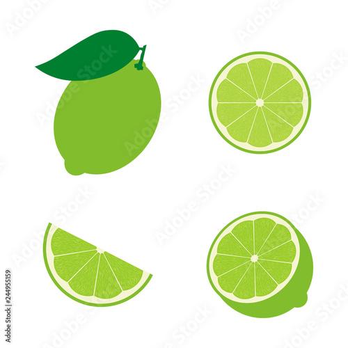 Set of lime fruit : half , slime, piece, lime in peel. Vector illustration. Flat design for business financial marketing banking advertising web concept cartoon illustration. Fototapete