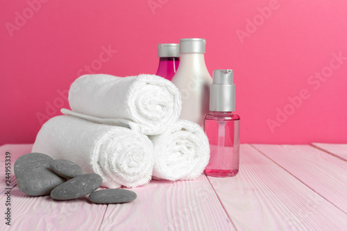 Aluminium Prints Spa Beautiful spa composition on wooden table