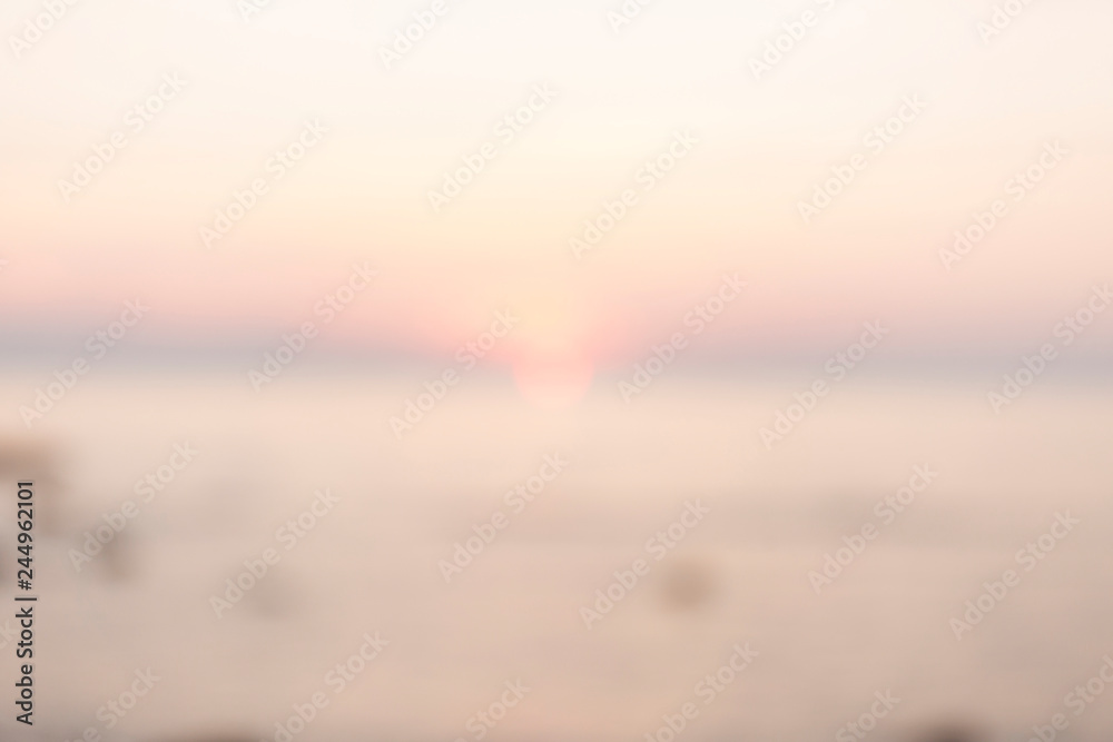 Fototapety, obrazy: Defocused background with soft colorful sunset. Blur landscape.