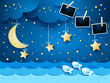 Surreal seascape by night with hanging stars and photo frames