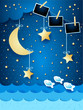 Surreal seascape with hanging stars and photo frames, paper art.