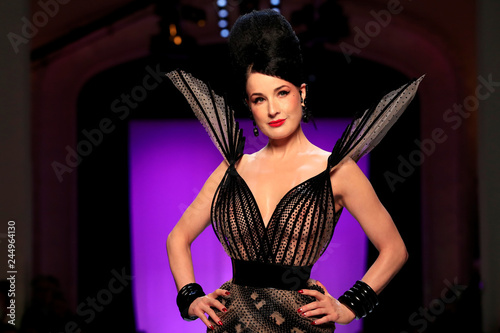 0f965ee9cd9 Dita Von Teese presents a creation by designer Jean Paul Gaultier as part  of his Haute