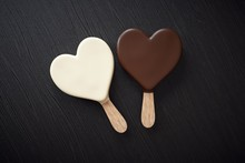 Two Ice Creams With A Heart Shape