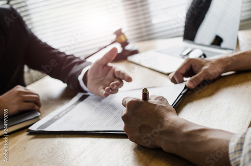 Fotografija  client customer signing contract and discussing business with legal consultants,