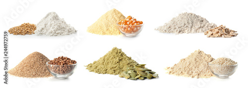 Papiers peints Graine, aromate Set of different organic flour and seeds on white background