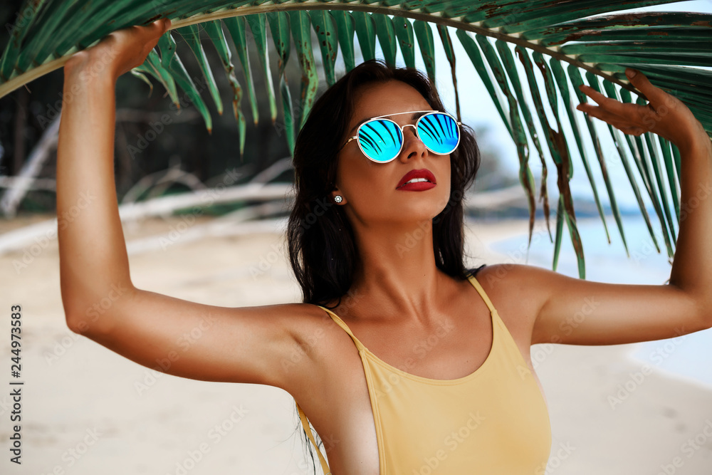 Fototapety, obrazy: incredibly beautiful sexy girl models in a bikini on the sea shore of a tropical island with palm leaf, blonde brunette, bronze tan, travel summer vacation, fashion style