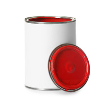Open Paint Can And Cap Isolated On White