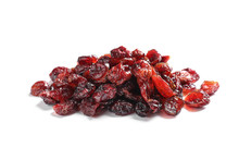 Heap Of Cranberries On White Background. Dried Fruit As Healthy Snack