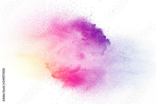 Foto auf AluDibond Formen Multi color powder explosion on white background.
