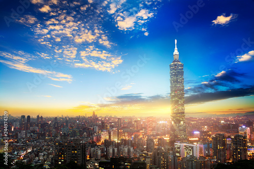 The scene of Taipei 101 building and Taipei city Taiwan on December 14 2017 Canvas Print