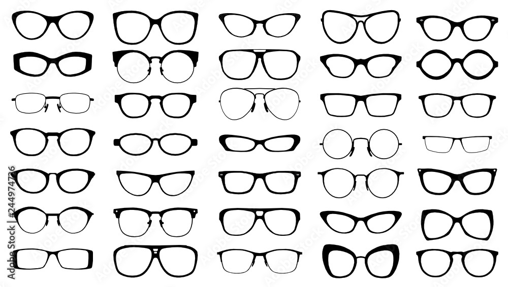Fototapety, obrazy: set of black vector glasses on white background