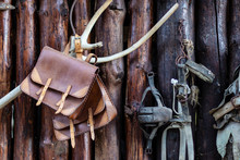 Brown Leather And Other Old Farming Tools