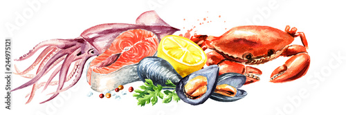 Seafood horizontal composition, Watercolor hand drawn illustration isolated on w Fototapeta