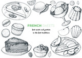 A set of french desserts with lemon tart, faux crepe cake, creme brulee, apple tart, canele, macarons. French cuisine top view frame. Food menu design template. Hand drawn sketch vector illustration. - 244975995