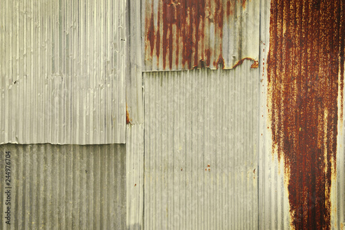 Foto  Corrugated Zinc Sheet Paneling Texture Background with Retro Filter Effect
