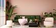 Leinwandbild Motiv interior design for living area or reception with grey carpet , armchair,plant,cabinet on marble floor background / 3d illustration,3d rendering