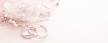 Wedding Rings On Wedding Card On A White Background, Border Design Panoramic Banner, Toning Color Living Coral