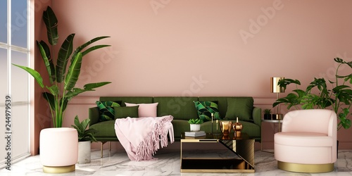 Fototapeta interior design for living area or reception with grey carpet , armchair,plant,cabinet on marble floor background / 3d illustration,3d rendering obraz