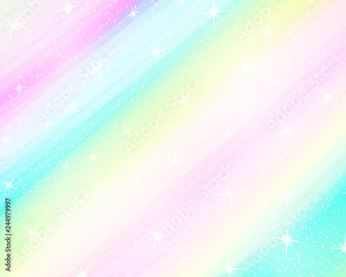 fototapeta na ścianę Unicorn rainbow background. Holographic sky in pastel color. Bright mermaid pattern in princess colors. Vector illustration. Fantasy gradient colorful backdrop with rainbow mesh.