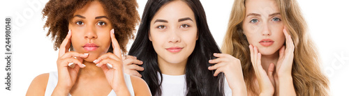 Different ethnicity women asian, african, caucasian beauty skin face care. Close-up portrait, of girls collage isolated on white. Copy space