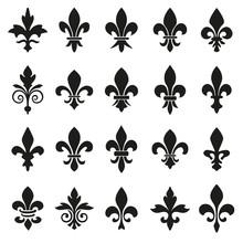 Set Of Emblems Fleur De Lys Symbols.