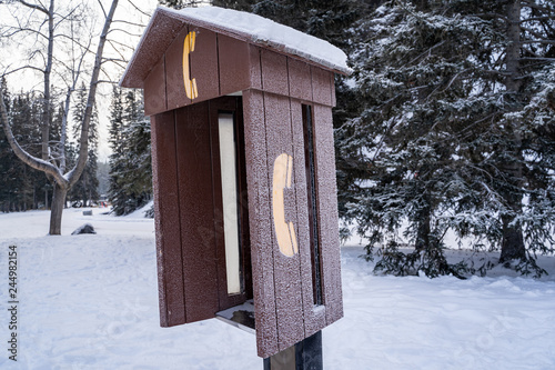 Fotografie, Obraz  Abandoned telephone booth covered in snow in the winter