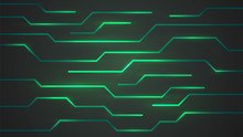 Abstract Background, Surface With Neon Green Lines, Technology