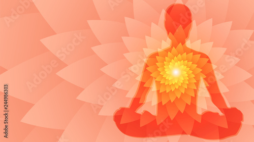 Fotografía Silhouette of human sitting in the lotus position on fractal background